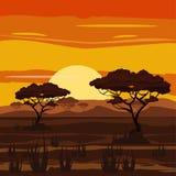 Paisaje africano, puesta del sol, sabana, naturaleza, árboles, desierto, estilo de la historieta, ejemplo del vector