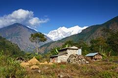 Paisaje agrícola de la montaña de Nepal Imagen de archivo libre de regalías