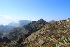 Paisaje agrícola en la meseta de la montaña de Al Hajar - Omán de la terraza hermosa Foto de archivo libre de regalías