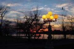 Paisaje ajardina puesta del sol Fotografía de archivo libre de regalías