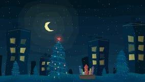 Paisaje al aire libre de la ciudad de la noche del invierno con nieve que cae Vector IL ilustración del vector