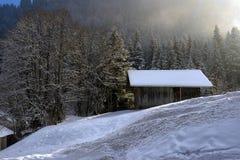 Paisaje alpestre del invierno fotos de archivo