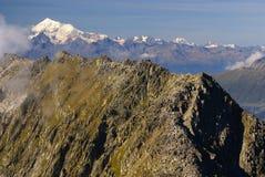 Paisaje alpino de la montaña de las montañas en Jungfraujoch, top de interruptor de Europa Imagen de archivo libre de regalías