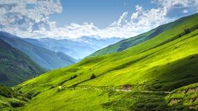 Paisaje alpino del valle Montañas del paisaje en día brillante soleado Paisaje de la montaña en la región de Svaneti de Georgia E fotos de archivo libres de regalías