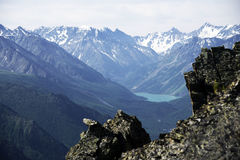 Paisaje alpino en las montañas de Altai, julio de 2016 Fotografía de archivo libre de regalías