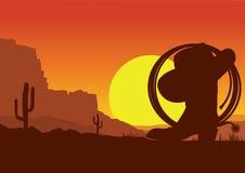 Paisaje americano del oeste salvaje del desierto con la bota de vaquero y el lazo libre illustration