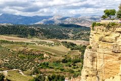 Paisaje andaluz panorámico en Ronda, cerca de Málaga, España fotos de archivo libres de regalías
