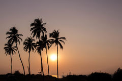 Paisaje ardiente hermoso de la puesta del sol en el Océano Índico Foto de archivo