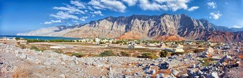 Paisaje asombroso de la montaña en Bukha, península de Musandam, Omán Imagen de archivo libre de regalías