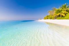 Paisaje asombroso de la playa Escena tropical de la naturaleza Palmeras y cielo azul Concepto de las vacaciones de verano y de la fotografía de archivo