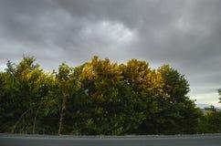 Paisaje asombroso del camino entre las montañas de piedra del otoño con el cielo azul nublado suave azul brillante o las montañas Fotografía de archivo
