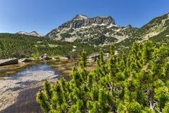 Paisaje asombroso del pico y de los lagos Banski, montaña de Dzhangal de Pirin Imagenes de archivo