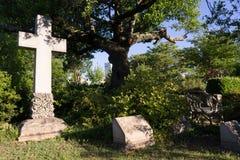 Paisaje Atlanta Georgia Headstone de las lápidas mortuarias del cementerio de Oakland fotos de archivo libres de regalías