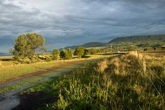 Paisaje australiano con la cerca de la granja Fotos de archivo libres de regalías