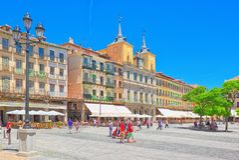 Paisaje ayuntamiento de Segovia en comandante de la plaza de la plaza principal Fotos de archivo libres de regalías