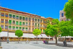 Paisaje ayuntamiento de Segovia en comandante de la plaza de la plaza principal Imagen de archivo