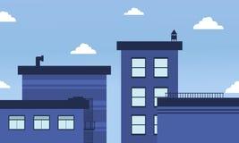 Paisaje azul del horizonte de los edificios del vector Fotografía de archivo