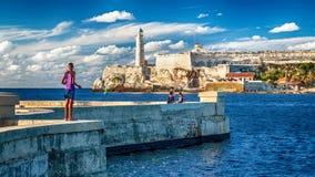 Paisaje azul en Havana Harbour foto de archivo libre de regalías