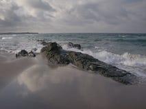 Paisaje búlgaro de la playa en el tiempo de verano Imagen de archivo libre de regalías
