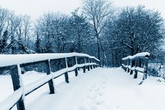 Paisaje blanco y azul del invierno Imagenes de archivo