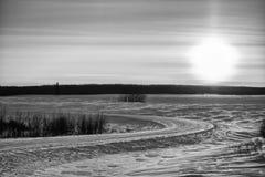Paisaje blanco y negro del invierno Imagen de archivo libre de regalías