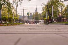 Paisaje borroso con el foco en el medio del marco, Moscú Imagen de archivo libre de regalías