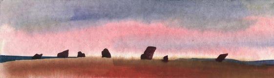 Paisaje Bosquejo de la acuarela de rocas en la puesta del sol Imagenes de archivo