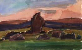 Paisaje Bosquejo de la acuarela de rocas en la puesta del sol Menhires, ejemplo Imagen de archivo