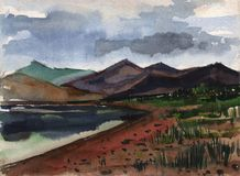Paisaje Bosquejo de la acuarela de un paisaje de la montaña contra un lago Imagen de archivo libre de regalías