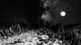 Paisaje cósmico, monocromático, ambiente del planeta rocoso, alivio superficial detallado, concepto de la ciencia ficción planeta stock de ilustración