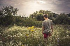 Paisaje cambiante dramático solo del prado del verano del muchacho del adolescente que camina Foto de archivo