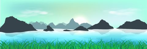 Paisaje, campo de hierba natural y valle, trave de la mañana de la salida del sol stock de ilustración