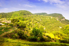 Paisaje catalán de las montañas en verano fotos de archivo