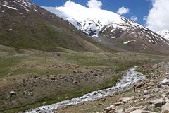 Paisaje cerca del paso de Khardung, Ladakh, la India Imagen de archivo