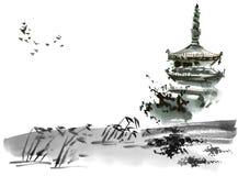 Paisaje chino con la pagoda
