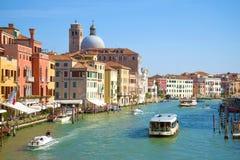 Paisaje clásico en una tarde soleada, Venecia de Grand Canal Fotografía de archivo