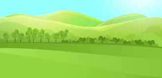 Paisaje claro con la colina verde, montañas, hierba y jardín o bosque del árbol Fotos de archivo