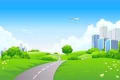 Paisaje - colinas verdes con el árbol y el paisaje urbano Fotografía de archivo libre de regalías