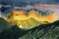 Paisaje colorido de la montaña El canto en el amanecer stock de ilustración