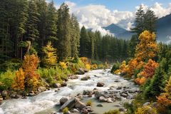 Paisaje colorido de la montaña en otoño Fotografía de archivo