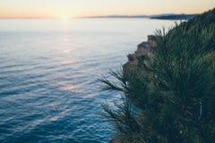Paisaje colorido de la puesta del sol del verano en el mar Atmósfera suave y caliente, foco selectivo Fotografía de archivo libre de regalías