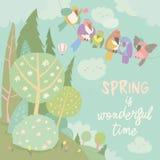 Paisaje colorido de los pájaros y de la primavera de la historieta linda ilustración del vector