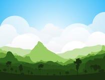 Paisaje colorido del verano de la silueta stock de ilustración