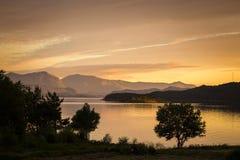 Paisaje con el árbol Tiempo de la puesta del sol por las orillas de mar en Noruega fotos de archivo