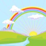 Paisaje con el arco iris ilustración del vector