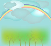 Paisaje con el arco iris stock de ilustración