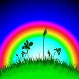 Paisaje con el arco iris Fotografía de archivo