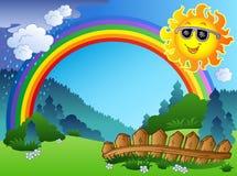 Paisaje con el arco iris y Sun ilustración del vector