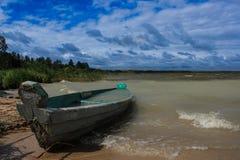 Paisaje con el barco Foto de archivo