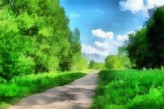 Paisaje con el camino stock de ilustración